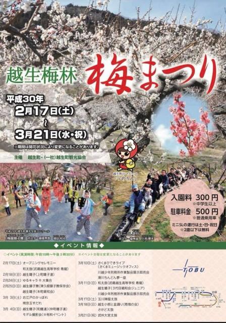 2月イベント・イルミ特集☆関東三大梅林「越生梅林・梅まつり」